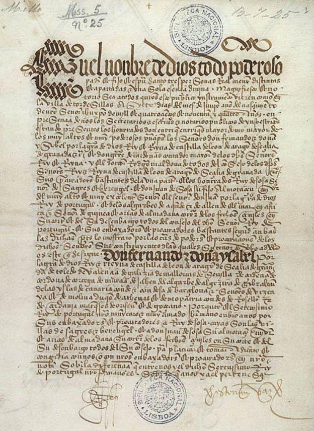 El Tratado de Tordesillas fue el resultado de un proceso de un año repleto de incertidumbre. (Biblioteca Nacional de Portugal)