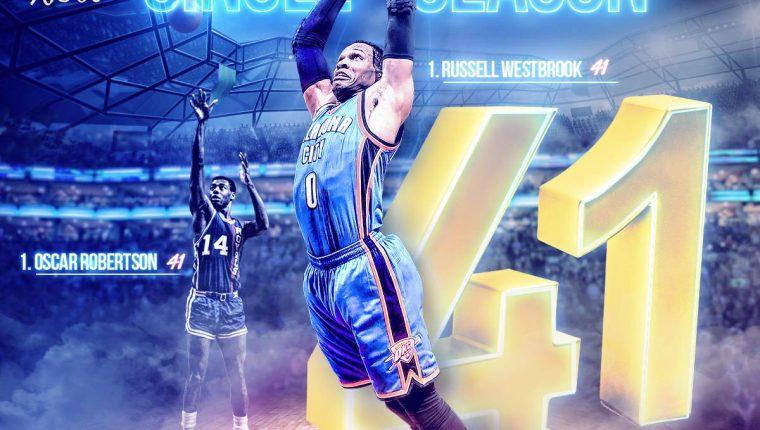 El base de los Thunder, Russell Westbrook, es parte de la historia de la NBA. (Foto Prensa Libre: Twitter NBA)