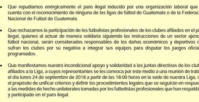 La Liga Nacional se pronunció por el paro de los futbolistas. (Foto Prensa Libre)