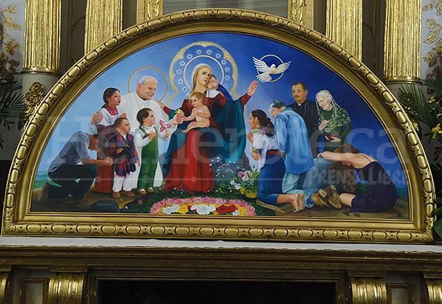 Pintura que representa a la Virgen del Socorro idealizada, aparece el papa San Juan Pablo II, pintado en 2015. (Foto: Néstor Galicia)