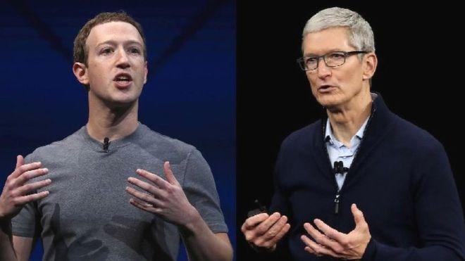 El escándalo de privacidad de Facebook enfrentó a Zuckerberg y a Tim Cook. (GETTY IMAGES)