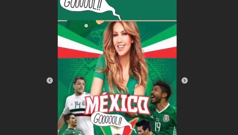 La cantante mexicana Thalia compartió una historia en su cuenta de Instagram para celebrar el gol de Mpexico. (Foto Prensa Libre: Instagram)