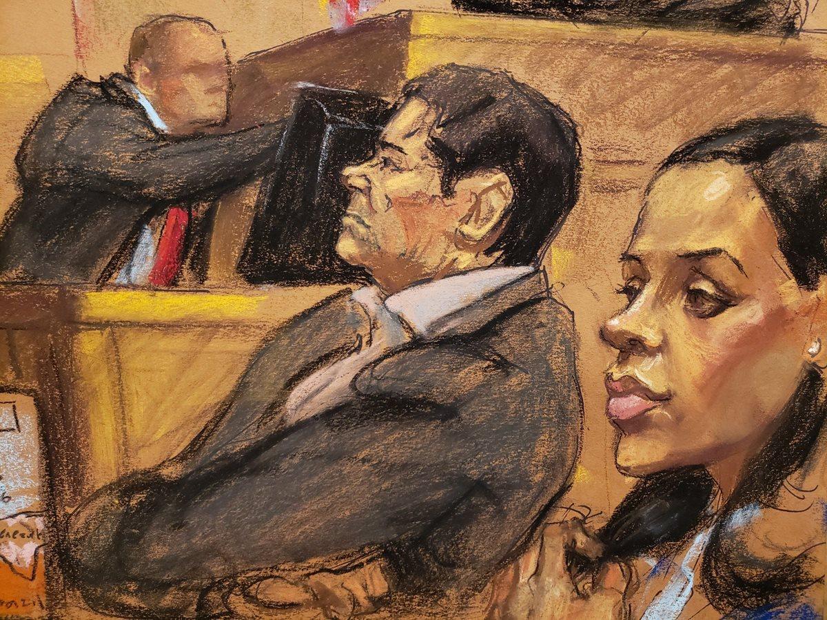 """Dibujo donde aparece Emma Coronel (d) mientras sigue el juicio de su esposo, el narcotraficante mexicano Joaquín """"El Chapo"""" Guzmán. (Autora: Jane Rosenberg, reproducido por EFE)"""
