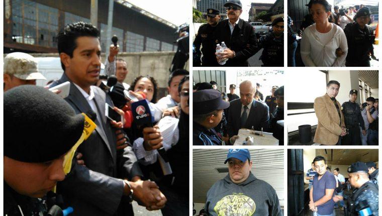 Algunos capturados en allanamientos de la Cicig y el MP. (Foto Prensa Libre: Estuardo Paredes)