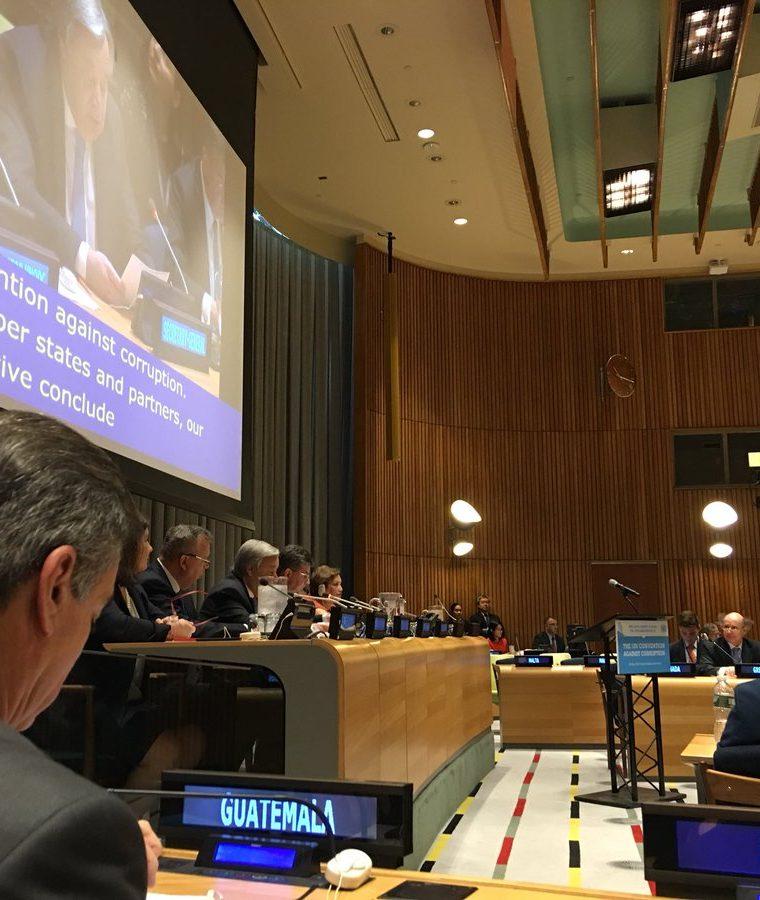 La representación de Guatemala estuvo presente durante la celebración de un aniversario más de la Convención de Naciones Unidas contra la Corrupción. (Foto Prensa Libre: Minex)