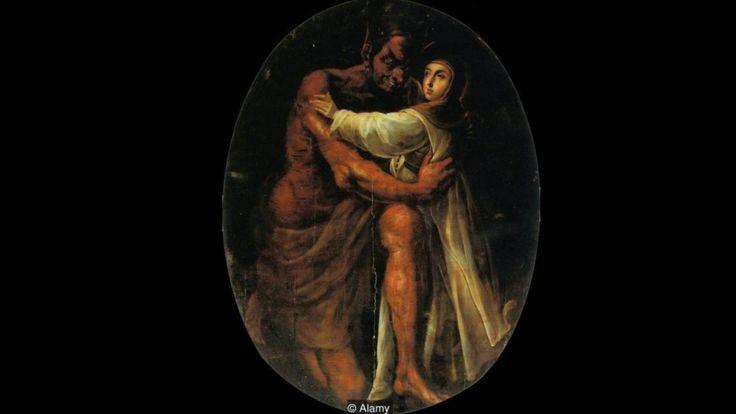 Cristóbal de Villalpando utilizó el rojo de la cochinilla en sus obras, incluyendo esta pintura de 1695 de Santa Rosa siendo tentada por el Diablo. ALAMY