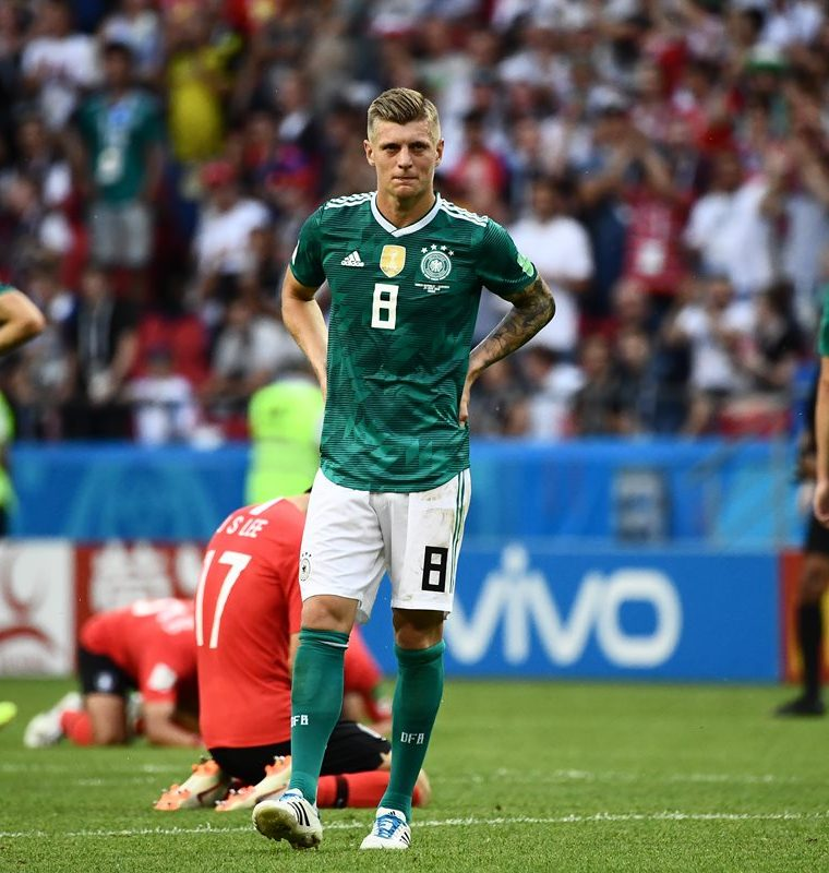 Los alemanes lucen devastados después de la derrota contra Corea del Sur. (Foto Prensa Libre: AFP)