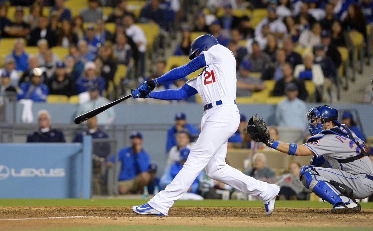 Trayce Thompson conectó un jonrón en el noveno inning para dar la victoria a los Dodgers de Los Ángeles el martes por 3-2 sobre los Mets de Nueva York. (Foto Prensa Libre: AP)
