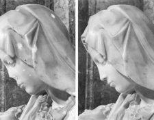 Comparación del daño en el rostro de La Piedad después del atentado de 1972. (Foto: Facebook Historia S.XXI)