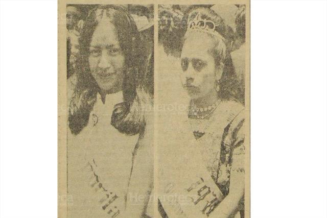 Sophia Gómez y Piedad Sotz, soberanas de Comalapa en 1970. (Foto: Hemeroteca PL)