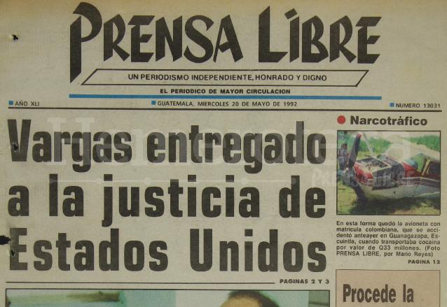 1992: Arnoldo Vargas, ex alcalde de Zacapa es extraditado a EE. UU.