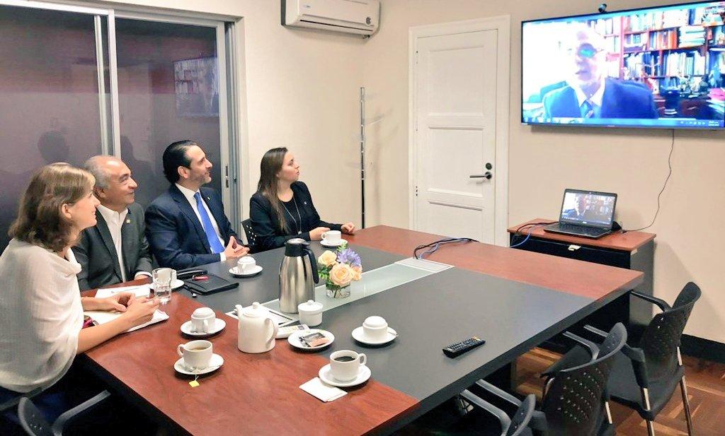 Iván Velásquez, jefe de Cicig, durante una videoconferencia con diputados del Frente Parlamentario por la Transparencia. (Foto Prensa Libre: Cicig)