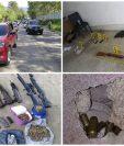 Durante allanamientos en varios departamentos de Guatemala, contra una banda de secuestradores, la PNC decomisó armas de fuego y municiones. (Foto Prensa Libre: PNC)