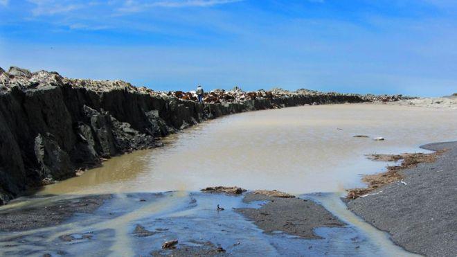 Paredes enteras de roca surgieron en la costa tras el terremoto. JOHN ELLIOTT/LEEDS UNI/COMET