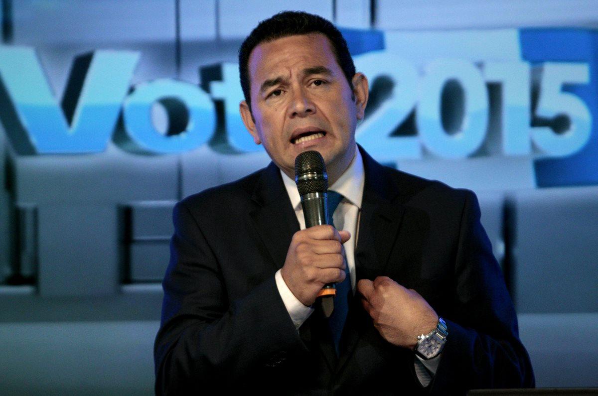 El presidenciable Jimmy Morales considera que de llegar a la Presidencia logrará la ayuda de Estados Unidos para Guatemala. (Foto Prensa Libre: Hemeroteca PL)