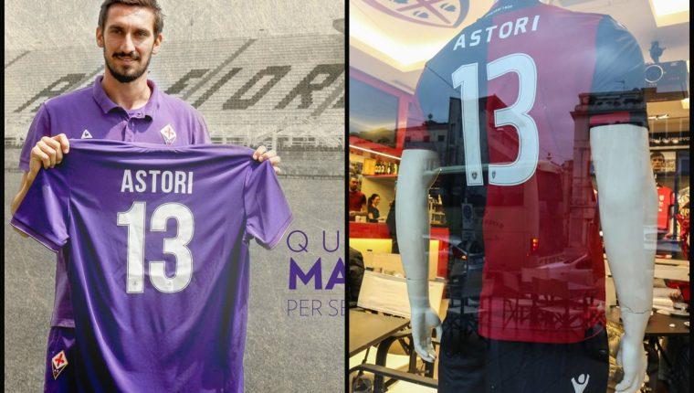 La camisola número 13, que era utilizada por Davide Astori será retirada de los clubes, Fiorentina y Cagliari. (Foro Prensa Libre: Twitter Fiorentina y EFE)