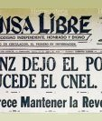 Titular de Prensa Libre del 28 de julio de 1954 anunciando la dimisión de Árbenz (Foto: Hemeroteca PL)