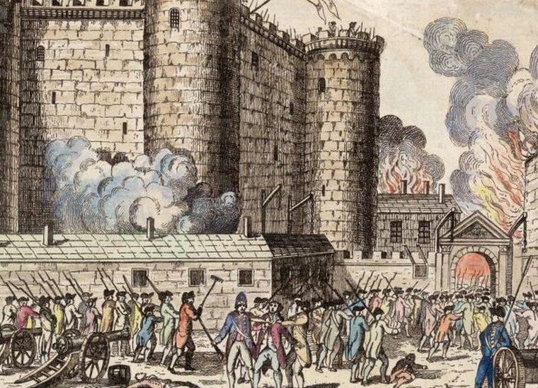Ilustración de la toma de la Bastilla el 14 de julio de 1789 (Hulton Archive/GETTY IMAGES).