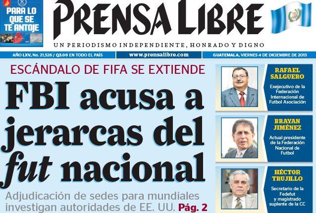 Titular de Prensa Libre del 4 de diciembre de 2015. (Foto. Hemeroteca PL)