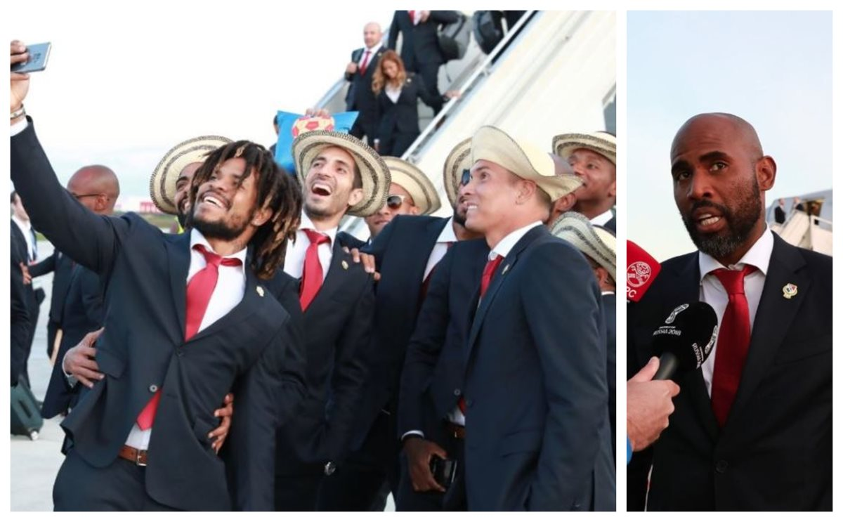 Los jugadores de la Selección de Panamá muestran su entusiasmo al llegar a Rusia, para su primer Mundial. (Foto Prensa Libre: Twitter fepafut.com)