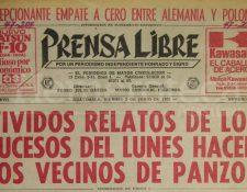 Titular de Prensa Libre del 2 de junio de 1978. (Foto: Hemeroteca PL)