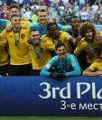 Los jugadores de Bélgica festejan el tercer lugar en el Mundial de Rusia 2018. (Foto Prensa Libre: AFP)