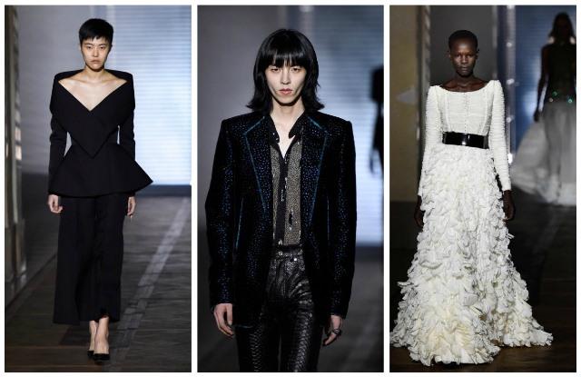 Modelos con creaciones de Givenchy para la colección de alta costura presentada en París, Francia en enero de 2018.  (Foto Prensa Libre: AFP)