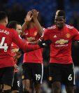 Los jugadores del Manchester United festejan, en el partido frente al Everton. (Foto Prensa Libre: AFP)