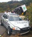 Vehículo conducido por Álvaro Eduardo Ramírez, de 16 años, quien chocó con un camión en San Pedro Yampuc. (Foto Prensa Libre: Estuardo Paredes)