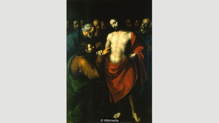 """En la obra de López de Arteaga """"La incredulidad de Santo Tomás"""", el rojo de la túnica vestida por Cristo denota su santidad. (Imagen: Wikimedia)"""