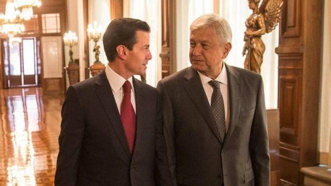 Enrique Peña Nieto y Andrés Manuel López Obrador, en su primera reunión tras las elecciones. AMLO dijo que habrá una transición pacífica y ordenada. PRESIDENCIA DE MÉXICO