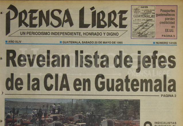 1995: revelan lista de jefes de la CIA en Guatemala