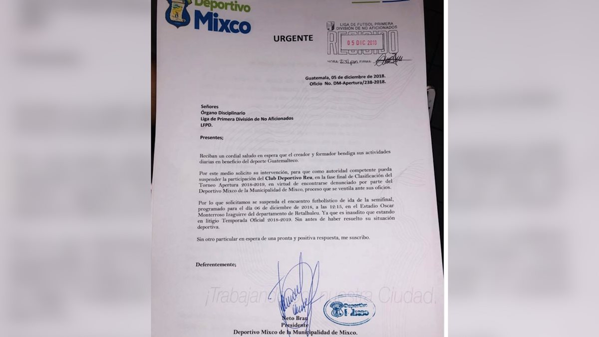 Neto Bran publicó una fotografía de la carta que presentó Deportivo Mixco ante la Primera División para solicitar que se suspenda el partido de ida de las semifinales entre Deportivo Reu y Sansare. (Foto Prensa Libre: Facebook de Neto Bran)