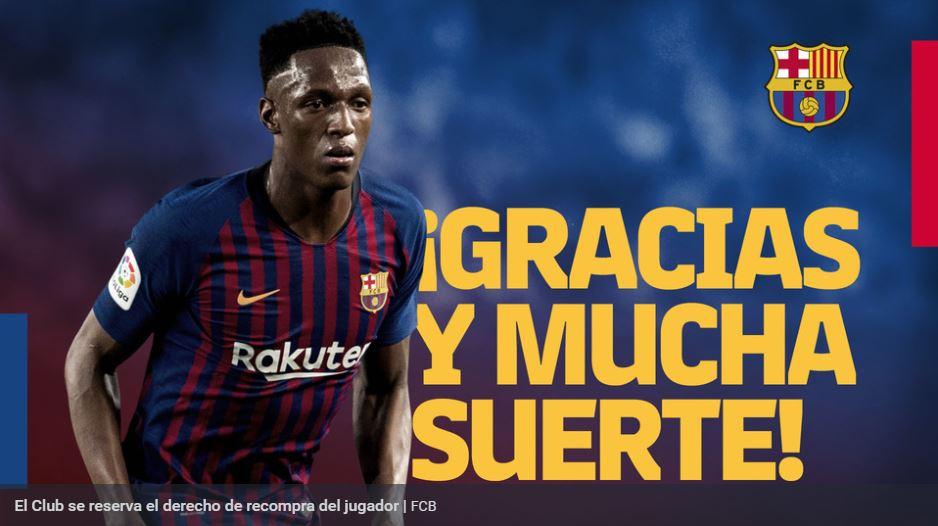 El FC Barcelona se despidió de Yerry Mina con un comunicado de prensa. (Foto Prensa Libre: FC Barcelona)