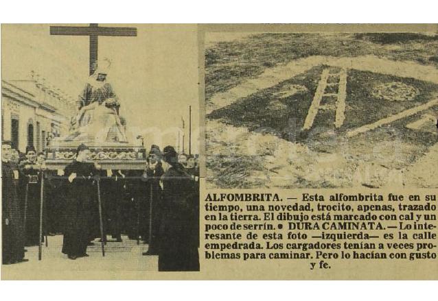 Uno de los pasos de la procesión del Santo Entierro de Santo Domingo, cuando era portado en hombros. A la derecha una sencilla alfombra. (Foto: Hemeroteca PL)