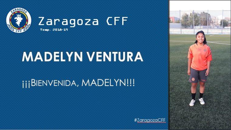 El club Zaragoza CFF en su página en internet le dio la bienvenida a la goleadora quetzalteca Madely Ventura. (Foto Prensa Libre: @ZaragozaCFF)