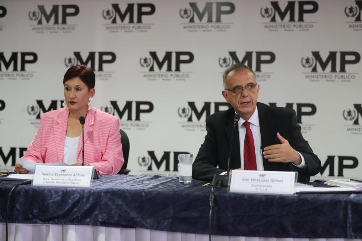 Thelma Aldana, Fiscal General del Ministerio Público e Iván Velásquez jefe de la Cicig revelaron detalles de un nuevo caso de financiamiento electoral ilícito. (Foto Prensa Libre: Érick Ávila)