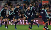 (FromL) Barcelona's Spanish midfielder Sergi Roberto, Barcelona's Spanish defender Jordi Alba, Barcelona's Spanish midfielder Sergio Busquets, Barcelona's Argentinian forward Lionel Messi Barcelona's Spanish defender Gerard Pique and Barcelona's Uruguayan forward Luis Suarez warm up before the Spanish League football match between FC Barcelona and SD Eibar at the Camp Nou stadium in Barcelona on January 13, 2019. (Photo by LLUIS GENE / AFP)