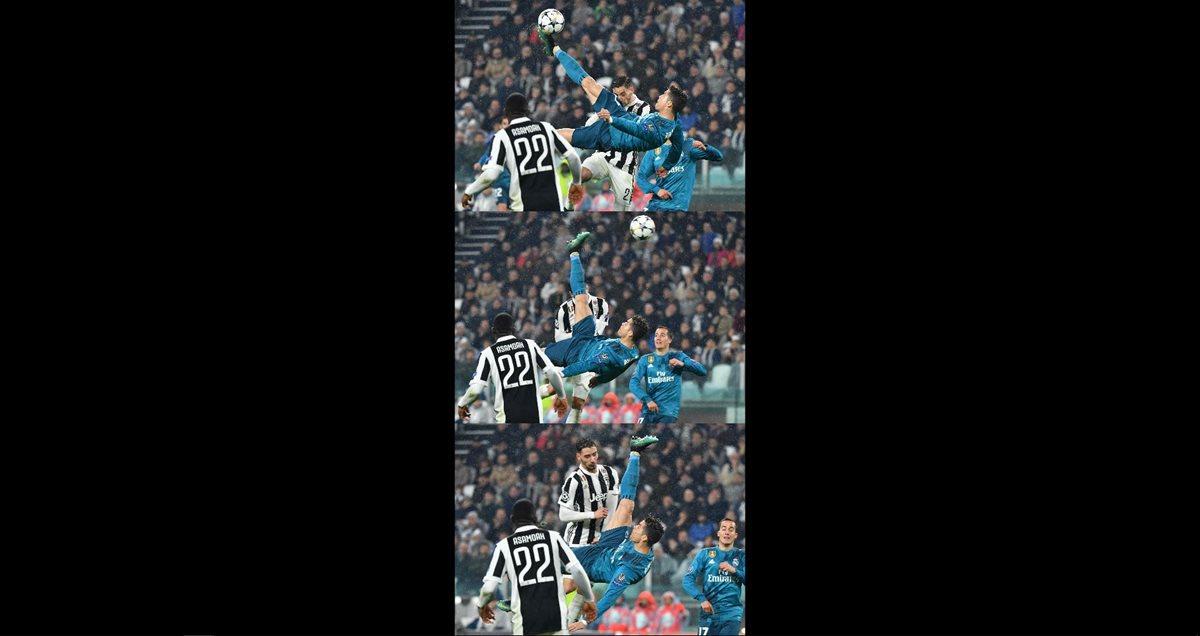La secuencia del gol de chilena de Cristiano Ronaldo. (Foto Prensa Libre: AFP)