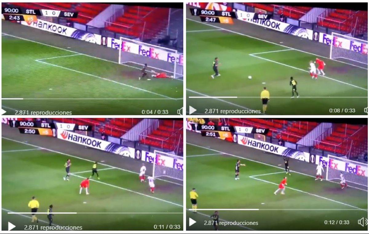 Sevilla se salva de milagro en una jugada poco difícil de creer que no terminó en gol del Standard. (Foto redes).