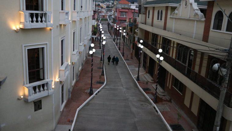 La calle de la que los pobladores de Salcajá, presumen, puede compararse con otras del mundo. (Foto Prensa Libre: María José Longo)