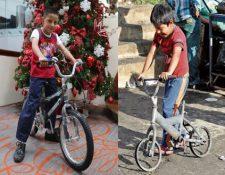 Mynor López muestra su bicicleta que perdió en el incendio y la que recibió de regalo. (Foto Prensa Libre: Óscar Rivas)