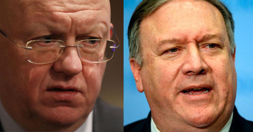 Vasily Nebenzya de Rusia y Mike Pompeo de EE.UU se enfrentaron en el Consejo de Seguridad de la ONU.