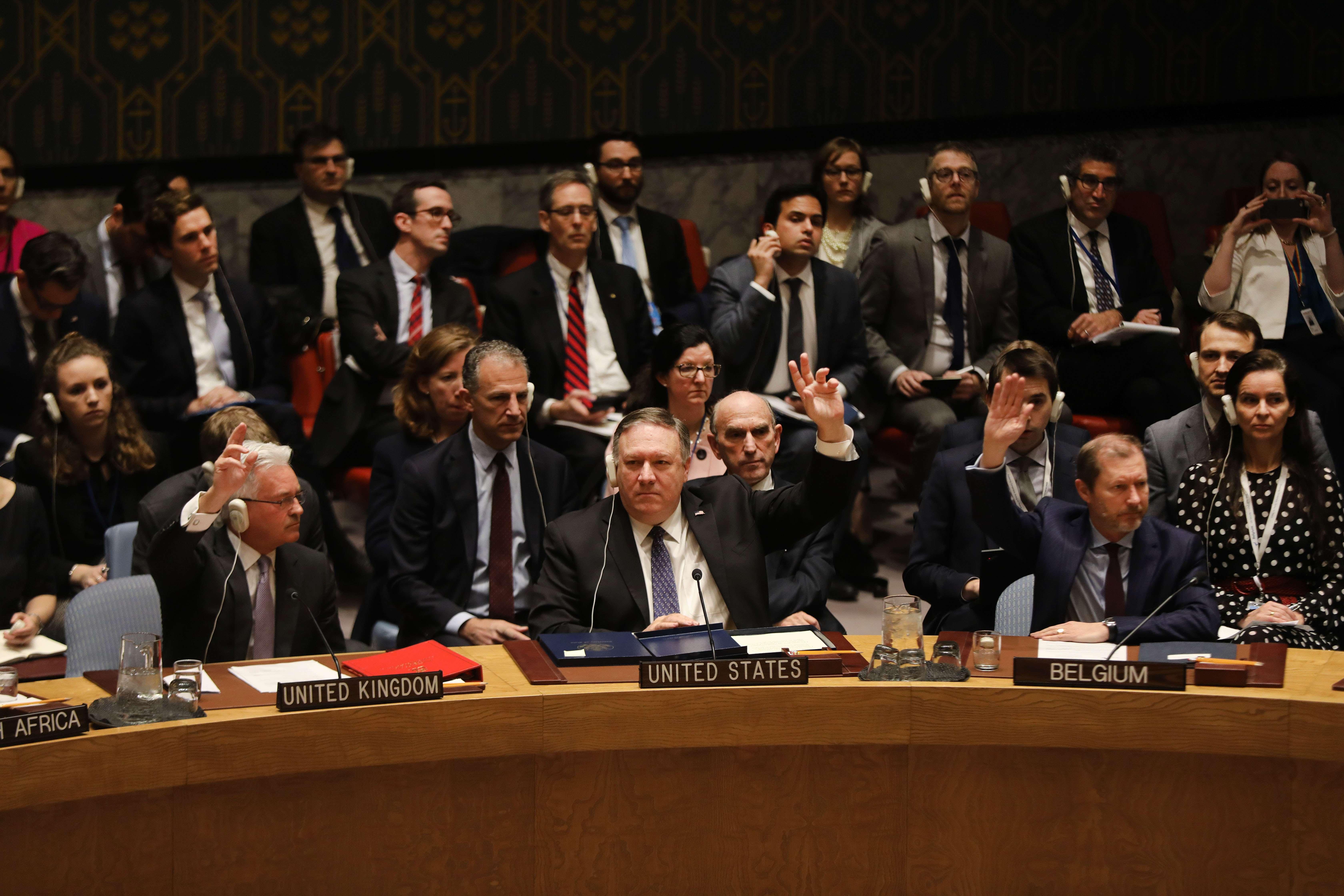 El secretario de Estado estadounidense, Mike Pompeo,  pidió apoyo para Juan Guaidó durante una sesión especial del Consejo de Seguridad(Foto Prensa Libre: AFP)