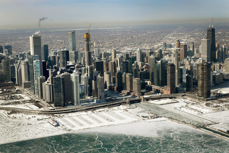Una vista general de la ciudad de Chicago, Illinois.