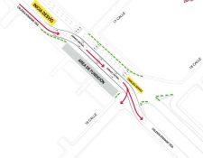 El mapa divulgado por la Municipalidad de Guatemala presenta el cambio de vías que se efectúa a partir de este sábado 29 en la calzada Atanasio Tzul. En diciembre habrá cambio en otras calles. (Foto, Prensa Libre: Municipalidad de Guatemala)