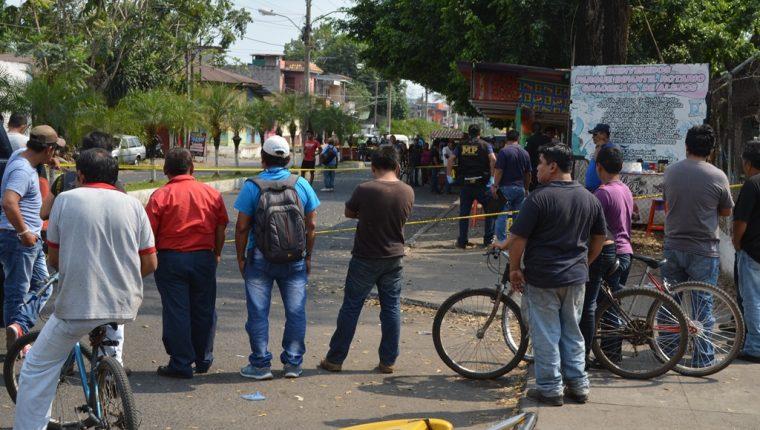 Lugar donde se registró el ataque en la cabecera de Retalhuleu. (Foto Prensa Libre: Jorge Tizol).