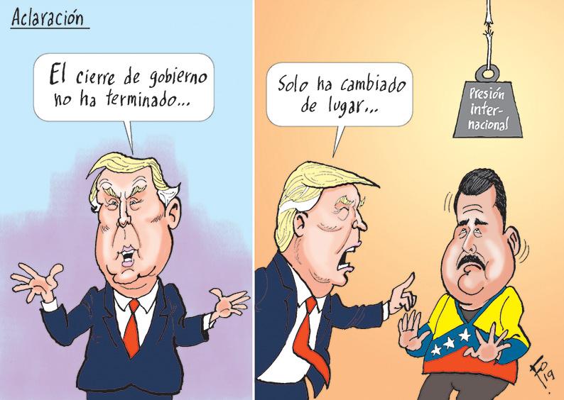 Personajes: Donald Trump y Nicolás Maduro.