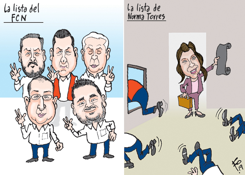 Personajes: Javier Hernández, Estuardo Galdámez, Armando Melgar, Sammy Morales, Jafeth Cabrera Cortez y Norma Torres.