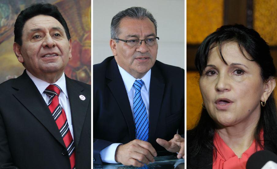 Francisco de Mata Vela, Boanerge Mejía y Gloria Porras, magistrados de la CC denunciados por la PGN.  (Foto Prensa Libre: Hemeroteca PL)